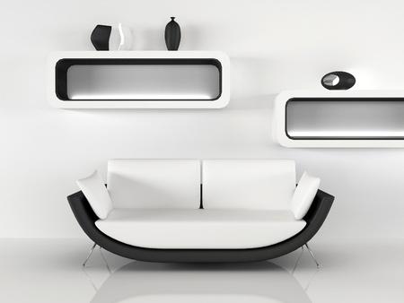 Modern sofa with decoration in minimalism interior. white black Apartment photo