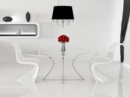 vase plaster: Two chairs and table with vase in minimalism interior. Space. Curve Furniture Stock Photo