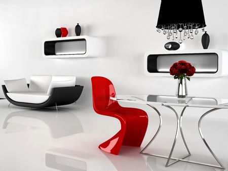 Minimalism and baroque Furniture in interior. Modern sofa, red Chair, Table, chandelier, vases photo