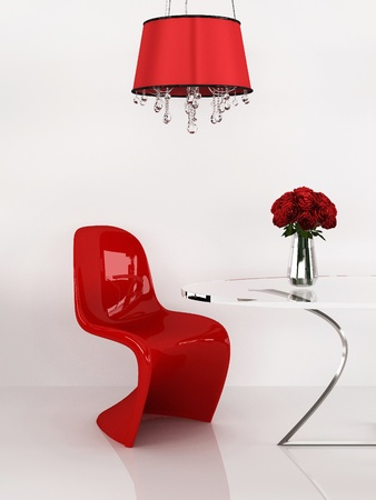 vase plaster: Modern chair in minimalism interior. Furniture. Loft. 3D Render