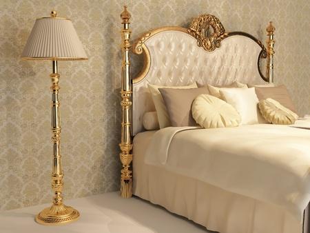 Rond Bed Met Zijden Kussens In De Slaapkamer Interieur Royalty-Vrije ...