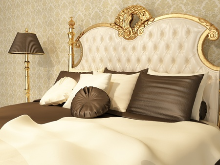 luxury bed: Luxurious bed with pillows and standing lamp in royal interior Stock Photo
