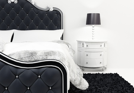 deluxe: Pillows and covering on the luxurious bed in Deluxe apartment. Furniture bedroom
