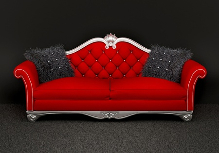 black carpet: Modern sofa with two  furry cushions in interior Stock Photo