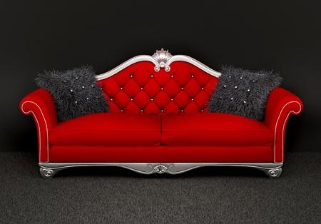 Moderne sofa met twee harige kussens in het interieur