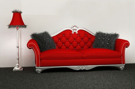 Modern armchair with furry cushions and standard lamp in interior photo