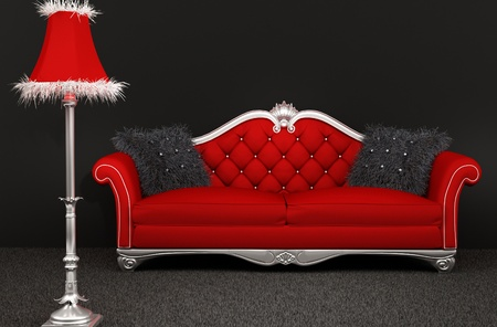 Sofa with furry pillows and standard lamp on dark background photo