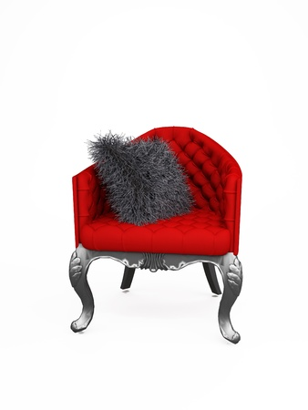 red chair: stylish and luxurious armchair with cushion. Chair Stock Photo