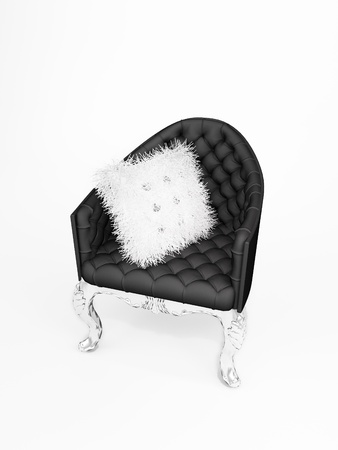 Lether armchair with bushy cushion isolated on white background photo