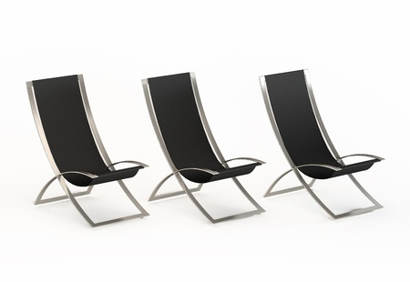 easy chair: Perspective of three modern  bench for the beach