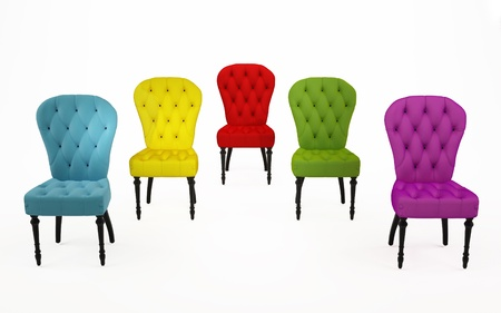 luxuriously: The coloured chairs, perspective armchairs over white background