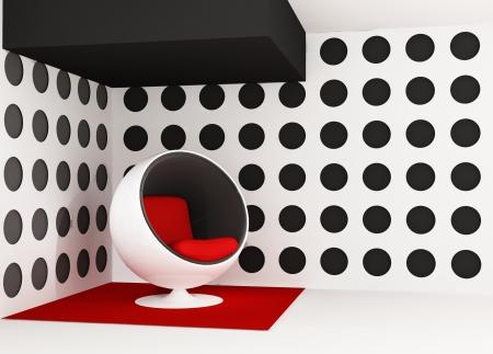 furniture detail: Pop art interior. Round armchair. Geometrical interior
