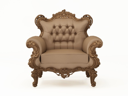 armrest: Luxury and leather modern armchair with bronze frame on the white background Stock Photo
