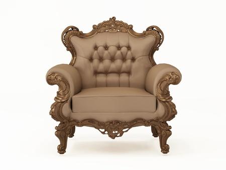 muebles antiguos: Sillón moderno lujo y cuero con marco de bronce sobre el fondo blanco Foto de archivo