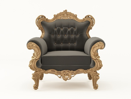 antique chair: Luxurious pattern armchair with bronze frame isolated on white background