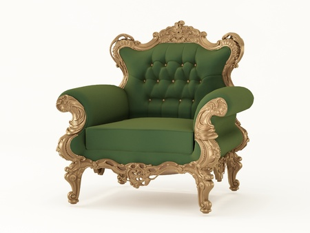luxuriously: Royal armchair with luxurious frame. Fabric furniture