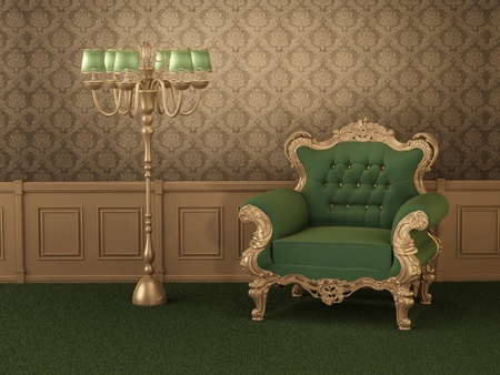 baroque room: Old styled furniture. Armchair with frame in royal wooden interior. Luxurious apartment