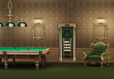 billiards tables: billiards. pool table and furniture in luxurious interior. Empty frames on the wall and armchair in modern room