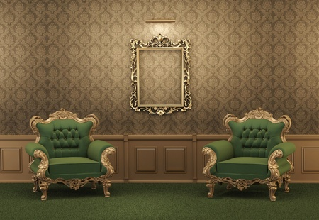 baroque room: Armchairs and Empty golden frame on a wall. Royal apartment. Luxurious interior. Baroque furniture