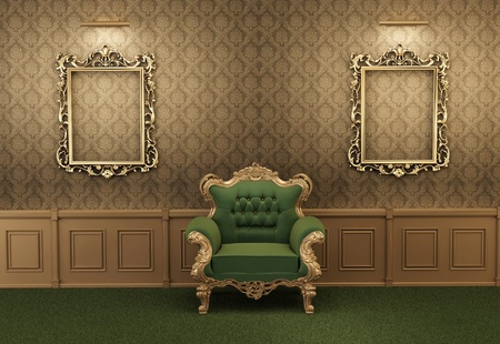 Armchair with luxurious frame in baroque interior photo