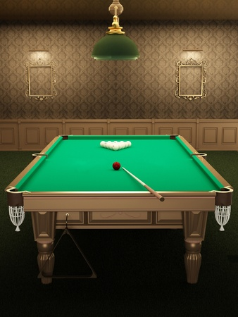 billiard or pool table in luxurious interior with pattern wallpapers. pocket a ball photo