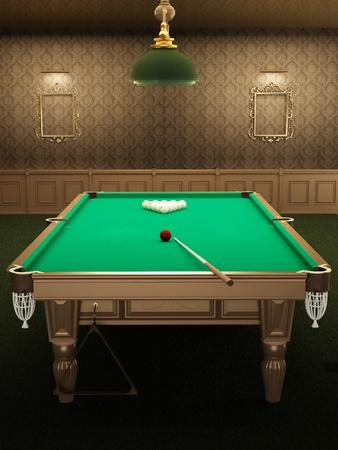 snooker room: tavolo da biliardo o in piscina in interni di lusso con carte da parati modello. imbucare una palla