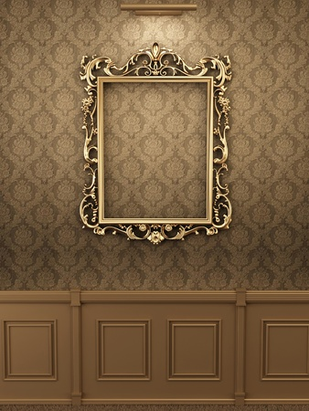 luxuriously: Royal golden frame on the wall in interior. Gallery  Stock Photo