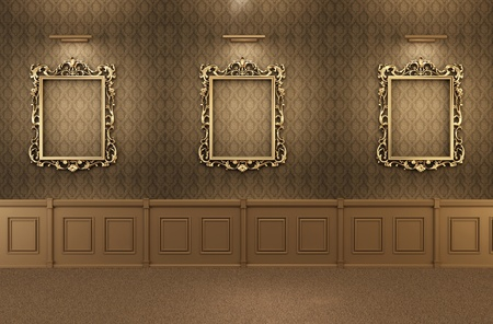 baroque room: Luxurious Gallery Interior with empty frames on wall. Wooden Stock Photo
