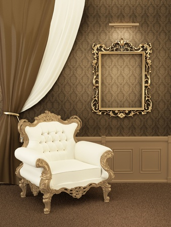 Armchair with frame in royal apartment interior. Luxurious Furniture at the hall Stock Photo