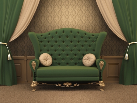 couch: Textured Sofa with pillows and curtain drapery in luxurious apartment. Luxe.  old styled interior.