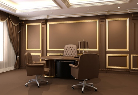 Furniture in wooden office interior  Stock Photo - 10523438