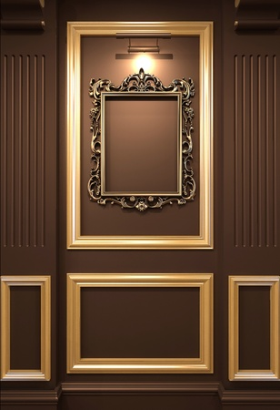 pilaster: Golden empty frame on wooden wall in Luxurious interior. Old exhibition
