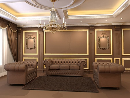 Luxe. Golden decorative and modern chesterfield sofa with armchairs in royal apartment interior. Chandelier. Ceiling construction