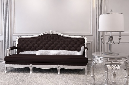 Luxurious sofa in modern interior. Luxe. Furniture in royal apartment. Hall. Relaxation room photo