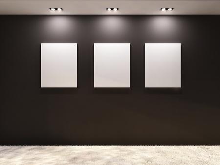 Galerij. Lege frames op een zwarte muur in het interieur