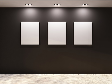 art gallery: Gallery. Empty frames on a black wall in interior