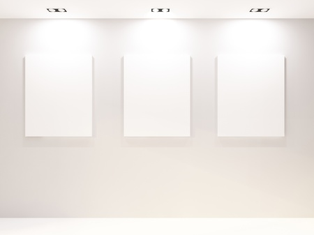 Gallery Interior with empty frames on white wall Stock Photo - 10523421