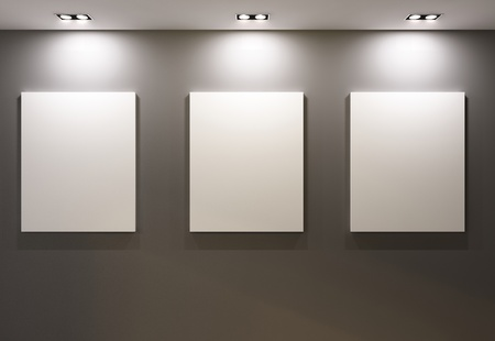 art gallery: Empty frames on grey wall in gallary of  museum interior Stock Photo