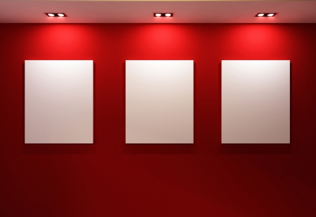 gallery interior: Gallery Interior with empty frames on red wall