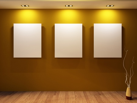 blanks: Gallery. Three blanks on a wall and decorative vase on parquet floor in modern interior. Stock Photo