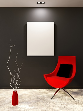 art museum: Red armchair with pillow and white blank on the black wall in minimalism interior. Living room