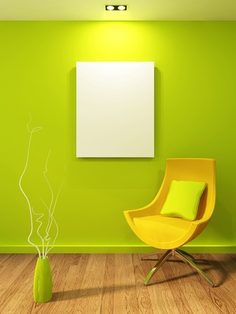 Empty illustration in modern interior. Gallary and armchair with vase Stock Photo