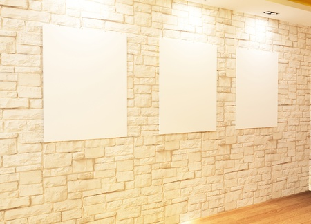 Empty frames on bricks wall in Gallery Interior Stock Photo - 10523433