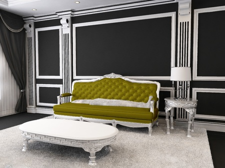 Royal Sofa and table with lamp, furry carpet in luxurious interior photo