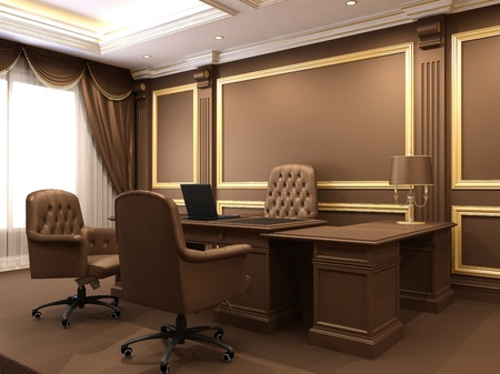 Modern inter. Office space. Wooden furniture in Luxuus apartment. Business table with armchairs. Work place near big window. Stock Photo - 10523441
