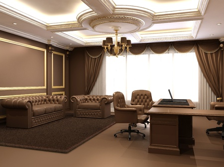 Modern office in wooden royal inter space Stock Photo - 10523446