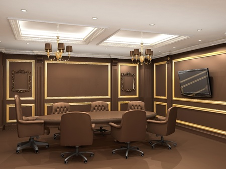 proceedings: Conference table in royal office interior space. Old styled apartment