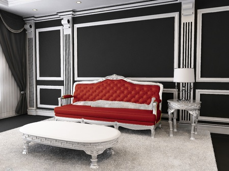 Red leather sofa, table, lamp, furry rug. Luxurious furniture in royal apartment interior. Luxe Stock Photo - 10523455
