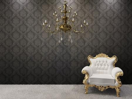 Royal interno. Lampadario dorato con lussuosa poltrona su sfondo nero ornamento.