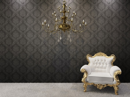 Royal interior. Golden chandelier with luxurious armchair on black ornament background.  Stock Photo